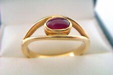 Beautiful 18ct Gold Cabochon Ruby Ladies Millenium Ring 2000