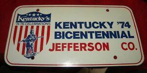 1974 JEFFERSON COUNTY, KENTUCKY BICENTENNIAL LICENSE PLATE