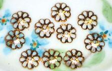 #1302 Vintage Filigree Bead Caps 9mm Antique gold Artsy Art Nouveau Beads NOS