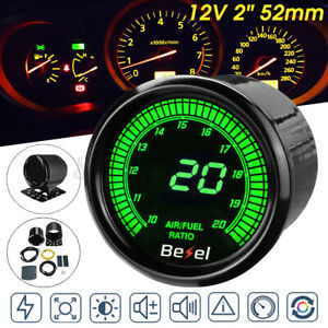 "2"" 52mm Digital 10 Color LED Display Air Fuel Ratio Gauge Car Meter Black Face"