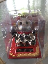 Solar Powered Dancing Toy New -  Lucky Waving Silver Cat - Small