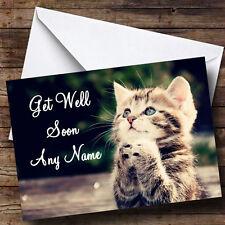 Cute Kitten Personalised Get Well Soon Greetings Card