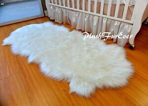 2 x 4 Off White Shaggy Sheepskin Nursery Room Area Rug Boy or Girl Baby