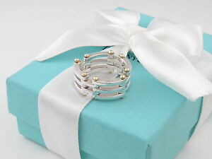 Tiffany & Co Silver 18K Gold Gatelink Gate Link Ring Band Size 6.5