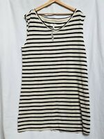 Womens LOFT Lou & Grey Cream/Black Sleeveless Striped V Neck Dress Sz XL