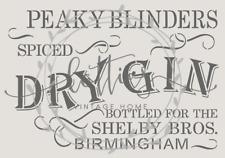 PEAKY BLINDERS - DRY GIN a4 STENCIL ❤ VINTAGE Furniture Wine Crate 190 MYLAR