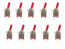 10 Subminiature Spst Toggle Switch Onoff Mini With Red Handle Cover