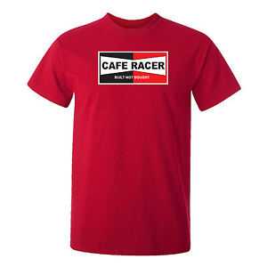 CAFE RACER - MOTORBIKE - BUILT NOT BOUGHT-CLASSIC-VINTAGE-MOTORCYCLE-RED T-SHIRT