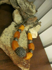 Vintage Old Sterling Silver 925 Wheat chain Butterscotch Amber Beaded Necklace