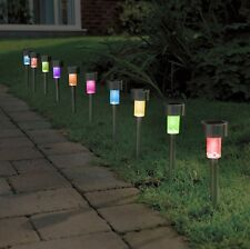 10 x Colour Changing Stainless Steel Solar Powered Garden Lights Lanterns