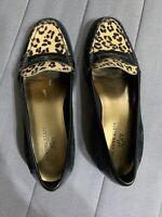 Anne Klein iflex Loafers Flats Black Suede Leather Animal Print Leopard Size 6 M