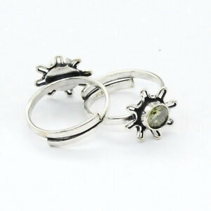 Green Amethyst 925 Silver Plated Handmade Gemstone Toe-Ring of Free Size Ethnic