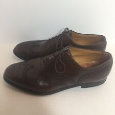 J.M. Weston France Brown Leather Richelieu Brogue Mens Size 10 E Classic