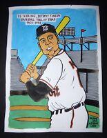Original Cuban Drawing AL KALINE Baseball Hall of Fame Detroit Tigers / CUBA ART