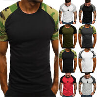Men Fit Short Sleeve Slim Gym Muscle Bodybuilding T-shirt Tee Shirts Tops Casual