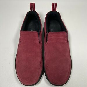 LL Bean Red Suede Leather Slip On Loafers Shoes Size 6.5 M Women's