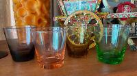 Gorgeous Multicolour Harlequin Vintage Collectable 50s rocks Glasses Set 4 #4G