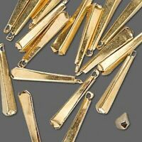20 Antiqued Gold Plated Brass 4 Sided 22x4mm Teardrop Charms *