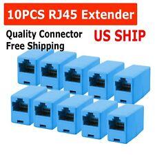 10 Rj45 Inline Blue Coupler Cat5 Cat5e Ethernet Network Cable Extender Connector