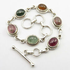 Bracelet 19.9 cm Handmade Jewelry 925 Solid Silver Natural Cabochon Tourmaline