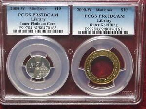 ERROR - 2000  Bi-metalic  $ 10  LIBRARY  OF  CONGRES  ,,GOLD - PLATINUM  ERROR