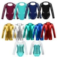 Girls Uniform Leotard Dance Gymnastics Ballet Long Sleeve Leotards Kids Jumpsuit
