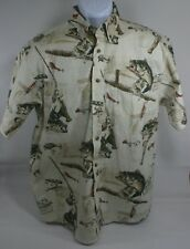 NORTH RIVER Outfitted Fishing Sz M 100% Cotton Bass Fishing CASUAL SHIRT