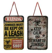 Halloween Party Wall Zombie Horror Warning Hanging Plaque Signs x 2 New UK