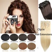 Clip in THICK Remy Human Hair Extensions Blonde Straight Full Head double weft