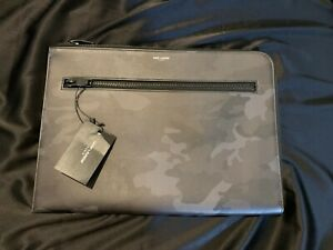 100% Authentic Saint Laurent Men's Leather Camo Bag