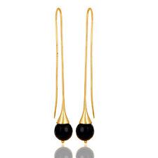Long Earrings Designer Fashion Gift Jewelry 14K Gold Plated Black Onyx Gemstone