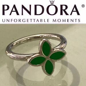 190142EN03 Retired Pandora Green Enamel Leaf Petal Ring Size 9.5