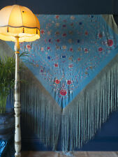 Antique Chinese Silk Piano Shawl