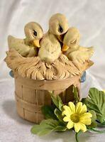Vintage Signed Spring ducklings Nesting on a basket ceramic trinket box V