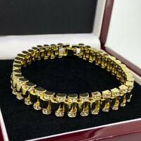 Gold Filled Rolex GF Bracelet With Stones heavy mens ladies heavy solid