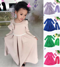 Muslim Kids Girl Long Maxi Dress+Hijab Bow-Knot Islamic Prayer Kaftan Abaya 3pcs