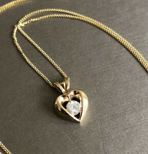 """9ct Yellow Gold Solitaire Diamond Necklace 0.25ct Heart Pendant 18"""""""