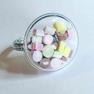 Unique DOLLY MIXTURE SHAKER RING adjustable MINIATURE food jewellery CUTE candy