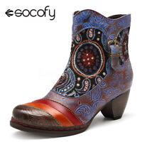 SOCOFY Women Winter Retro Heel Vine Pattern Genuine Leather Zipper Ankle  !