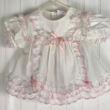 Dress 3-6 Months White Pink Frilly Lace Short Sleeve Bows Ruffles Baby Church
