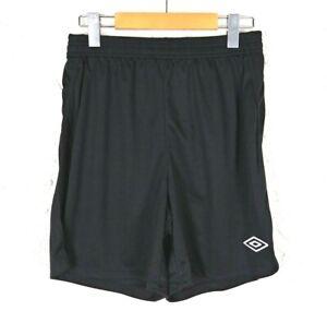 Umbro Size S Youth Boys Girls Black Knit League Soccer Shorts Elastic Waist