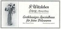 Pelzhaus Witzleben Leipzig Reklame 1910 Pelzwaren Pelze Mode Werbung