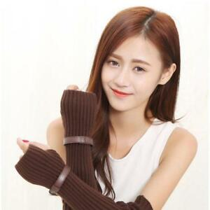 Winter Accessories Women Autumn Winter Arm Sleeve Solid Color Knitted Mittens LL