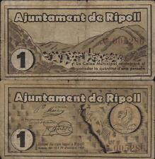 Una Peseta. Ayuntamiento de Ripoll. Gerona. 3ª Emisión Octubre 1937. Sin serie.