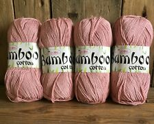 Knitting Yarn Wool Bamboo Cotton King Cole 4 X 100g Balls Dusty Pink