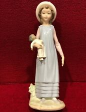 """Lladro girl with hat holding doll 11"""" New Other"""