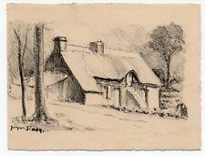 gravure lithographie par Jacques SIMON.Chaumière.format carte.Carolles Manche