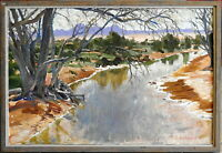 Max Ragless 1901-81 Large Original Oil Painting Willochra Creek Flinders Ranges