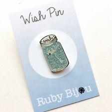 DANDELION BROOCH - Enamel Pin Glitter Glass Mason Jar Make a Wish