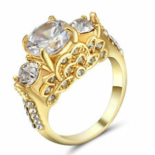 Size 6 Gold Rhodium Plated Round Cut Wedding Engagement Ring Anniversary Propose